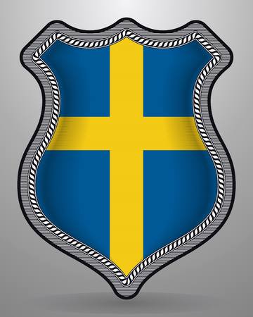 Flag of Sweden. Vector Badge and Icon. Vertical Orientation Version