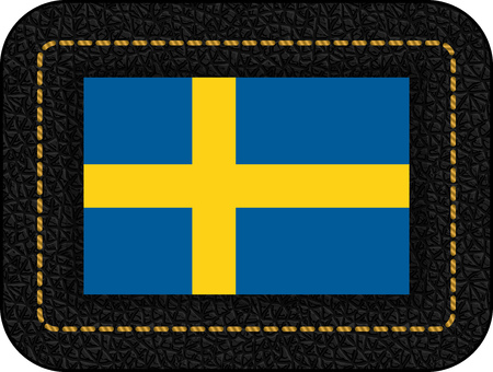 Flag of Sweden. Vector Icon on Black Leather Backdrop. Aspect Ratio 2:3