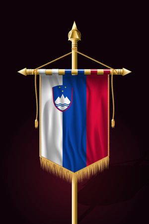 Flag of Slovenia. Festive Vertical Banner. Wall Hangings with Gold Tassel Fringing Ilustração