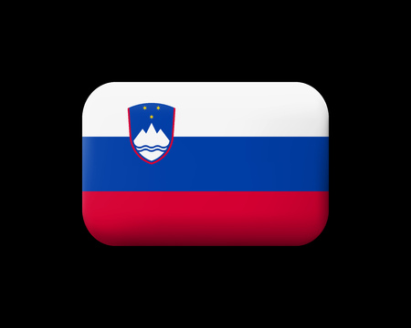 Flag of Slovenia. Matted Vector Icon and Button. Rectangular Shape with Rounded Corners