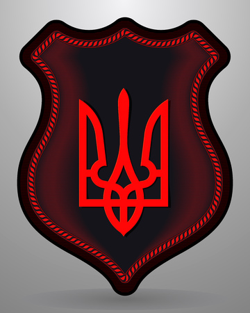 Tryzub. Trident. National Symbols of Ukraine. Vector Badge and Icon. Black and Red Version