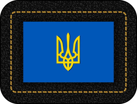Tryzub. Trident. National Symbols of Ukraine. Vector Icon on Black Leather Backdrop. Aspect Ratio 2:3 일러스트