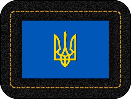 Tryzub. Trident. National Symbols of Ukraine. Vector Icon on Black Leather Backdrop. Aspect Ratio 2:3 Illustration