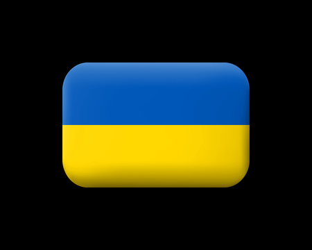 Flag of Ukraine. Matted Vector Icon and Button. Rectangular Shape with Rounded Corners  イラスト・ベクター素材