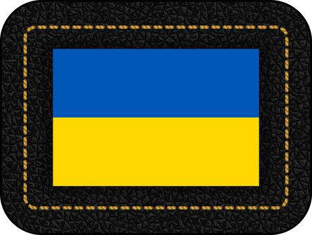 Flag of Ukraine. Vector Icon on Black Leather Backdrop.