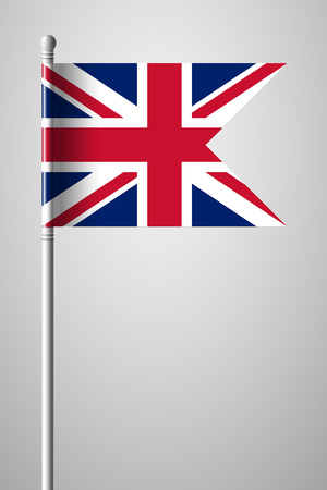 Flag of United Kingdom. National Flag on Flagpole. Isolated Illustration on Gray Background Stock fotó - 101215797