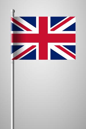 Flag of United Kingdom. National Flag on Flagpole. Isolated Illustration on Gray Background