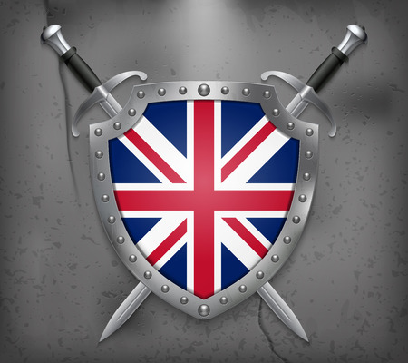 Flag of United Kingdom. The Shield with National Flag. Two Crossed Swords. Vector Medieval Background