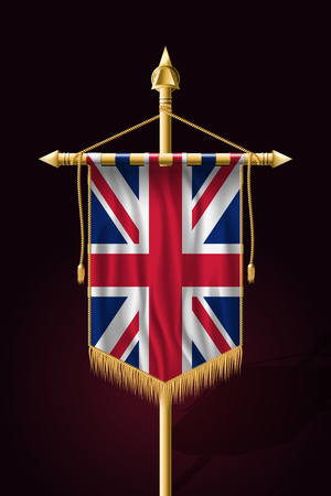 Flag of United Kingdom. Festive Vertical Banner. Wall Hangings with Gold Tassel Fringing