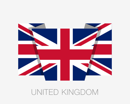 Flag of United Kingdom. Flat Icon Waving Flag with Country Name on a White Background Illusztráció