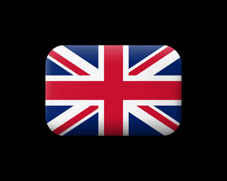 Flag of United Kingdom. Matted Vector Icon and Button. Rectangular Shape with Rounded Corners