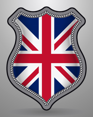 Flag of United Kingdom. Vector Badge and Icon Isolated on Gray Illusztráció
