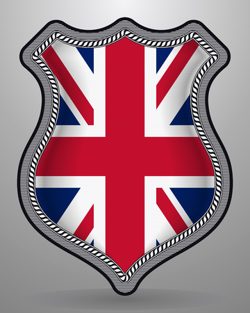 Flag of United Kingdom. Vector Badge and Icon. Vertical Orientation Version