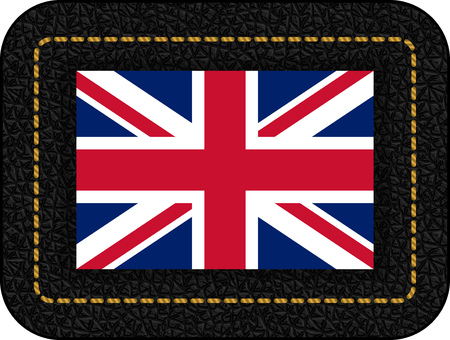 Flag of United Kingdom. Vector Icon on Black Leather Backdrop.