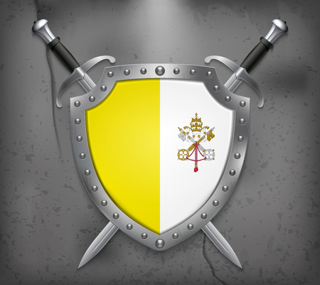 Flag of Vatican City. The Shield with National Flag. Two Crossed Swords. Vector Medieval Background