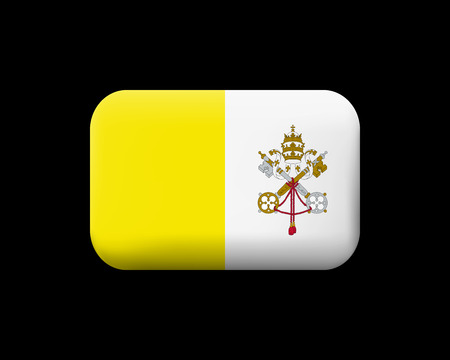 Flag of Vatican City. Matted Vector Icon and Button. Rectangular Shape with Rounded Corners 向量圖像