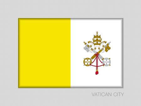 Flag of Vatican City. National Ensign Aspect Ratio  on Gray Cardboard