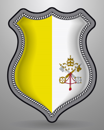 Flag of Vatican City. Vector Badge and Icon. Horizontal Orientation Version