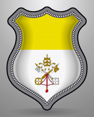 Flag of Vatican City. Vector Badge and Icon. Vertical Orientation Version