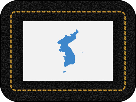 Flag of United Korea. Vector Icon on Black Leather Backdrop. Aspect Ratio 2:3