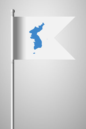 Flag of United Korea. National Flag on Flagpole. Isolated Illustration on Gray Background