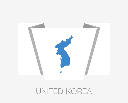 Flag of United Korea. Flat Icon Waving Flag with Country Name on a White Background