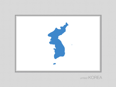 Flag of United Korea. National Ensign Aspect Ratio 2 to 3 on Gray Cardboard 일러스트