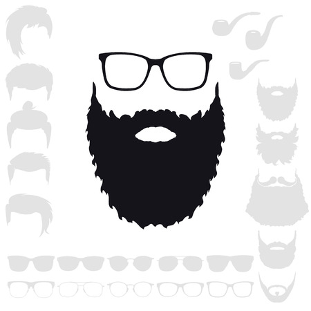 Hipster Fashion Set. Bearded Face Avatar Silhouette. Haircuts, Beards, Glasses, Accessories. Vector Isolated Illustration 일러스트