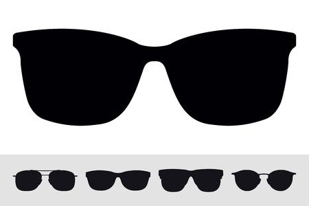 Sonnenbrillen-Zeichen-Symbol-Symbol. Vektor lokalisierte Schattenbild auf weißem Hintergrund. Vektorsatz. Grafik-Design-Element