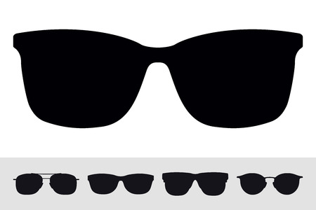 Sunglasses Sign Icon Symbol. Vector Isolated Silhouette on White Background. Vector Set. Graphic Design Element