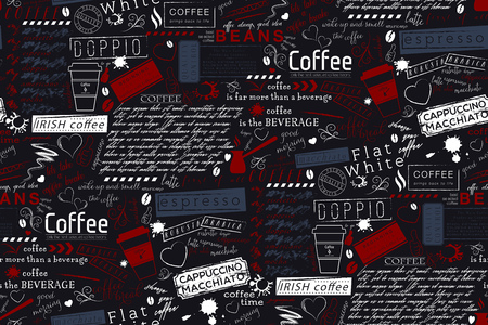 Text Lettering of Coffee and Cafe Terms Background. Seamless Vector Pattern and Texture Vectores