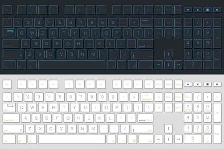 Computertastatur-Vektor isoliert. Graue und weiße Version. Draufsicht