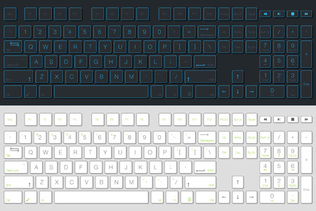 Computer Keyboard Vector Isolated. Gray and White Version. Top View