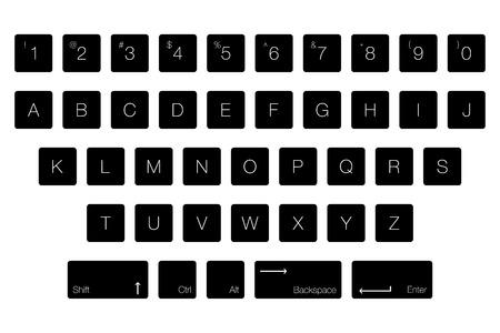 ベクトルキーボードコンピュータ文字キー。アルファベット順の黒いボタン