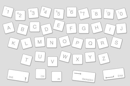 ベクトルキーボードコンピュータ文字キー。独立した白いボタンをアルファベット順に並べる
