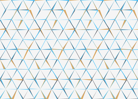Hexagons and Triangles Seamless Pattern. Vector Geometric Abstract Background. White Gyan and Brown Color