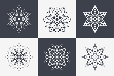 Set of 6 Isolated Snowflakes. Six-pointed and Eight-pointed Unique Icons. Vector Design Elements for Merry Christmas and New Year