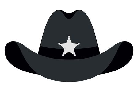 Silhouette Sheriff Hat Icon. Vector Isolated Object. Front View. Symbol of Wild West