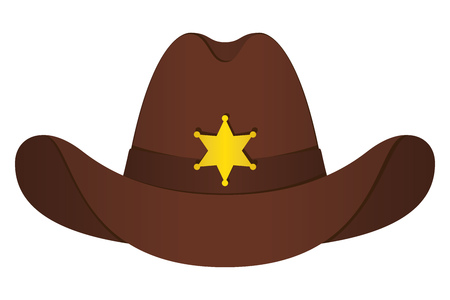 Brown Sheriff Hat Icon. Vector Isolated Object. Front View. Symbol of Wild West