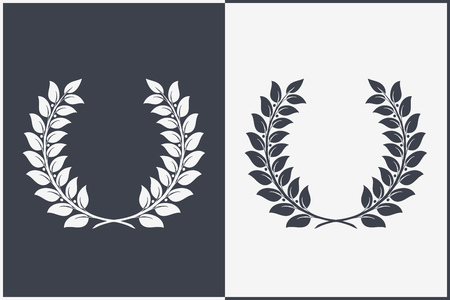 Heraldic Wreath Icon. Honor or Quality or Reward Symbol. Vector Isolated Silhouette