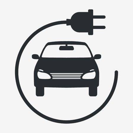 Electric Car. Eco Vehicles Symbol. Ecological Transport Icon. Vector Isolated 矢量图片