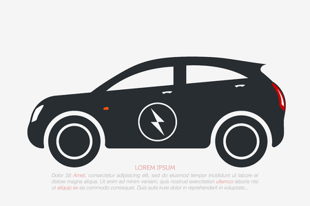 Electric Car. Eco Vehicles Symbol. Ecological Transport Icon. Vector Isolated