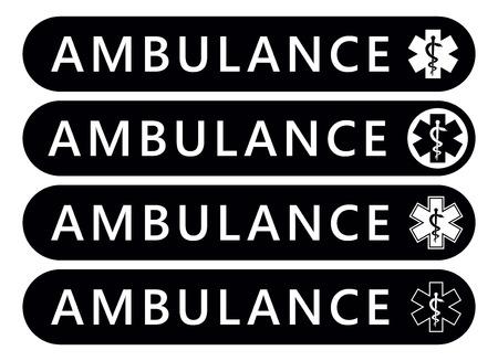Krankenwagen-Etikett-Aufkleber. Notfall-Banner. Vektor isoliert Vektorgrafik