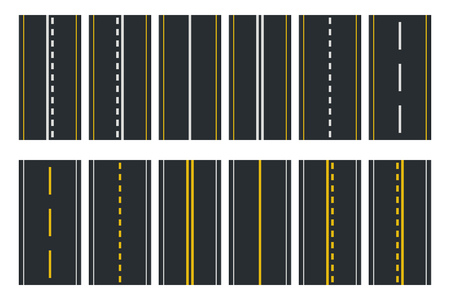 Set of Seamless Road Types. Highway Top View. Vector Illustration Stock Vector - 119578571