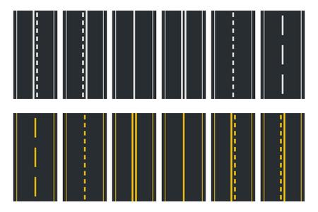Conjunto de tipos de carreteras sin costura. Vista superior de la autopista. Ilustración vectorial Ilustración de vector