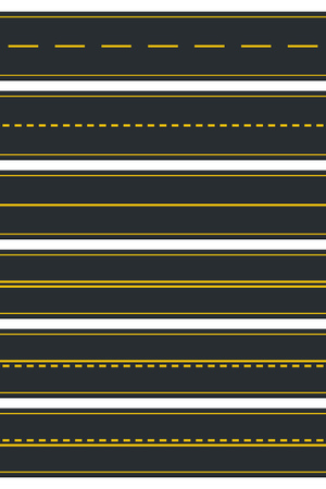 Set of Seamless Road Types. Highway Top View. Vector Illustration Stock Vector - 119578574