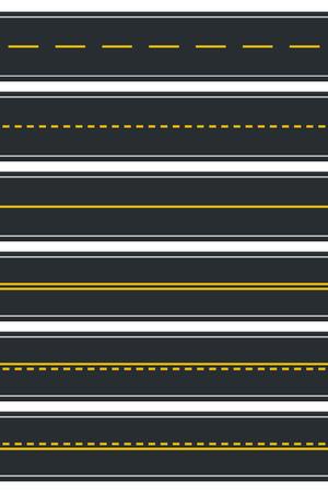 Conjunto de tipos de carreteras sin costura. Vista superior de la autopista. Ilustración vectorial