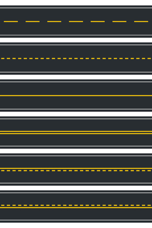 Set of Seamless Road Types. Highway Top View. Vector Illustration