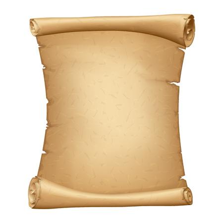 Desplazamiento de papel antiguo. Pergamino vertical. Papiro antiguo de la vendimia. Baner de cartón detallado con espacio para su texto