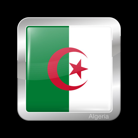 Flag of Algeria. Glossy and Metal Icon Square Shape. Vector Button